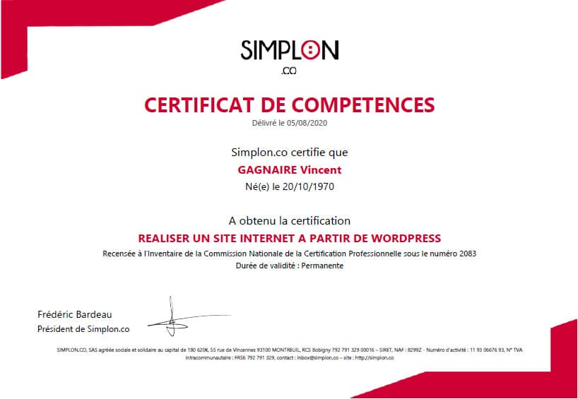 Certification Simplon